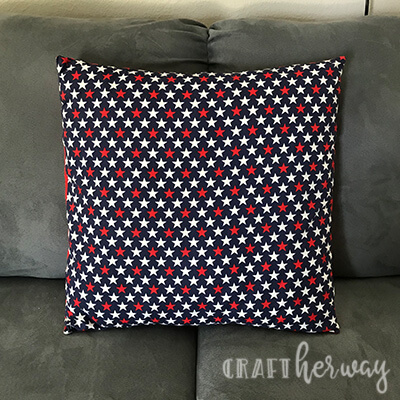 4th of July seasonal pillow cover - red and white stars on blue fabric