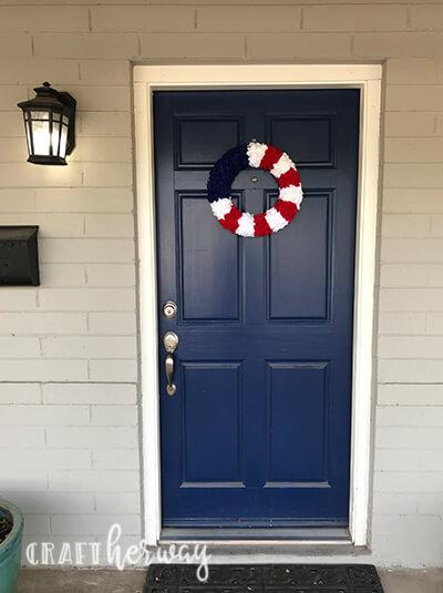 diy 4th of july felt wreath on front door