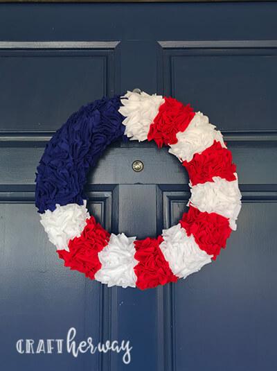 4th of july felt wreath on front door