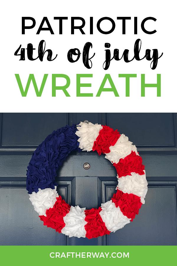 4th of July felt wreath on blue door