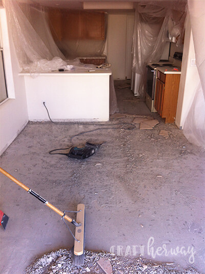 removing tile is a dirty job
