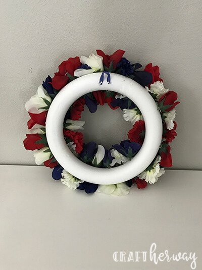 red, white, and blue 4th of july wreath back view