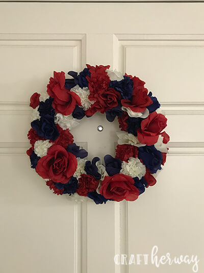 4th of wreath hanging on a door