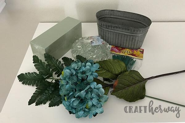 easy blue artificial flower arrangement idea