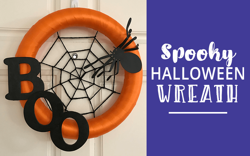 Halloween wreath hanging on a door