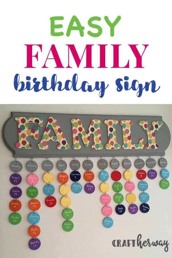 diy family birthday sign
