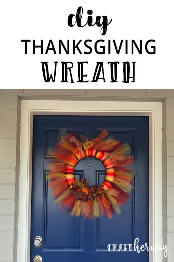 Looking for Thanksgiving decoration ideas? Check out this easy DIY Tulle Thanksgiving Wreath. It is a perfect addition for your front door. #thanksgiving #decoration #thanksgivingdecoration #holidayideas #crafts #diy