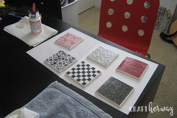 diy tile ceramic coasters red, black and white