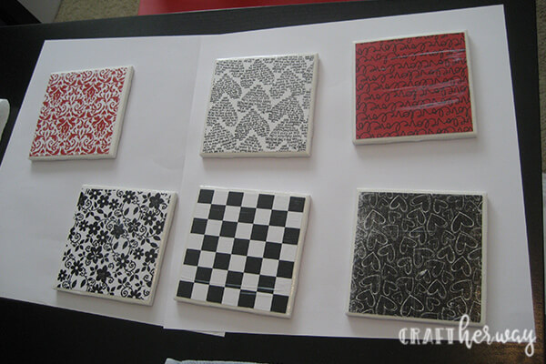 diy ceramic tile coasters red, black and white