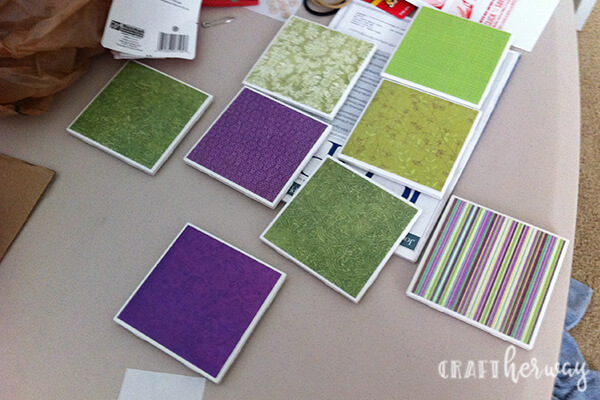 diy ceramic tile coasters green and purple