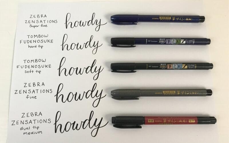 tombow fudenosuke brush pen compared to zebra zensations brush pens