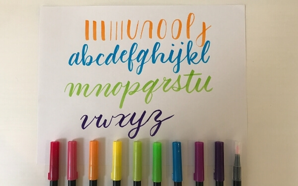 tombow dual brush pen strokes and alphabet example
