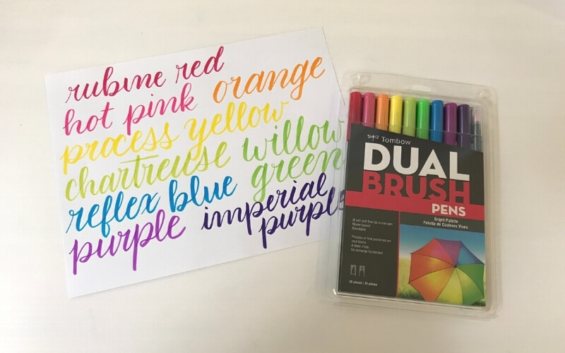 tombow dual brush pen review with color swatch