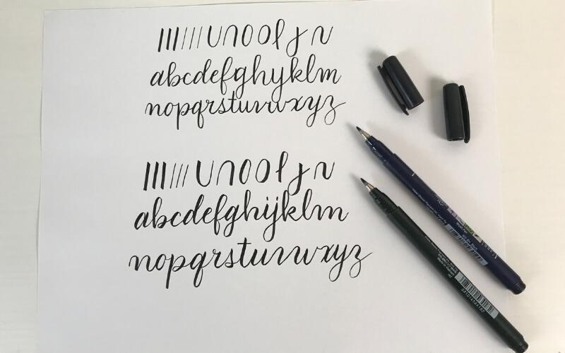 tombow fudenosuke brush pen hard tip and soft tip demonstration of basic strokes and alphabet