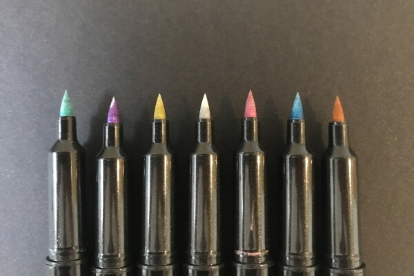 zebra metallic brush pens with cap off