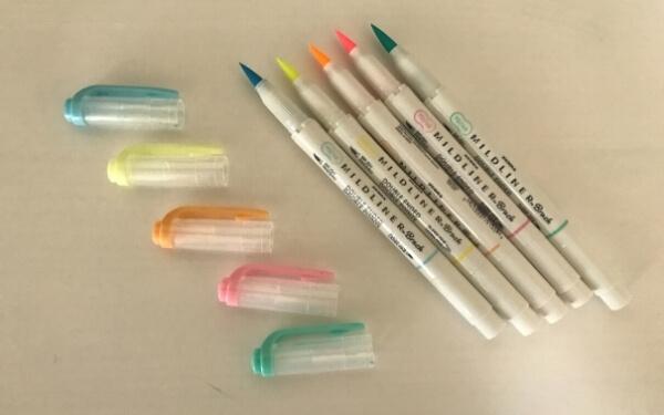 zebra mildliner brush pen review - fluorescent set