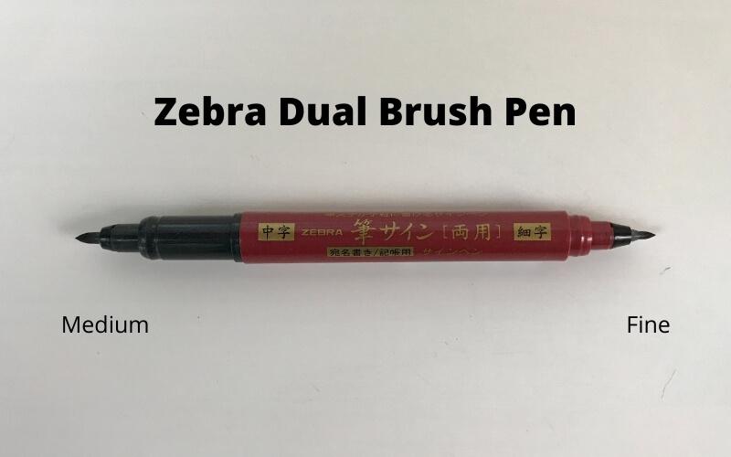 zebra zensations dual brush with medium tip and fine brush tip