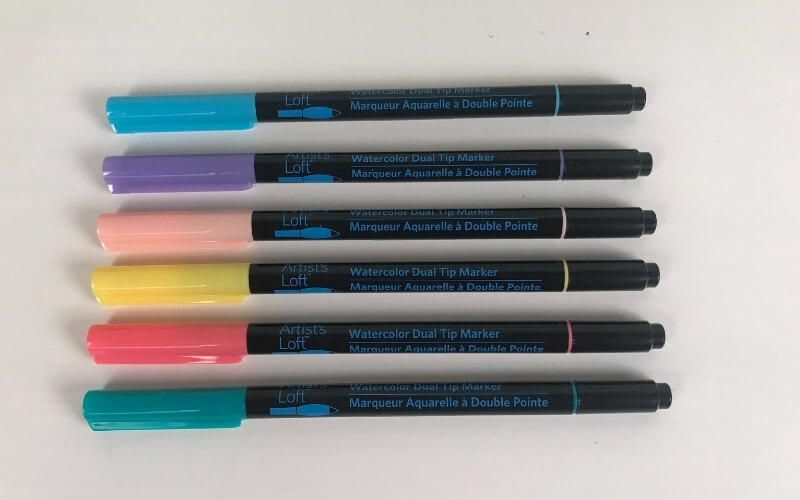 artists loft watercolor dual tip markers 6 colors