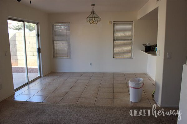 before picture of dining room with original tile